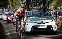 Johnny Hoogerland (NLD/Roompot) in between the teamcars up the Haagaard climb<br /> <br /> 55th Brabantse Pijl 2015