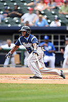 Corpus Christi Hooks outfielder Delino DeShields (1) hits a double during a game against the NW Arkansas Naturals on May 26, 2014 at Arvest Ballpark in Springdale, Arkansas.  NW Arkansas defeated Corpus Christi 5-3.  (Mike Janes/Four Seam Images)