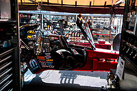 Aug 9, 2020; Clermont, Indiana, USA; View of the pit area of NHRA top fuel driver Leah Pruett during the Indy Nationals at Lucas Oil Raceway. Mandatory Credit: Mark J. Rebilas-USA TODAY Sports