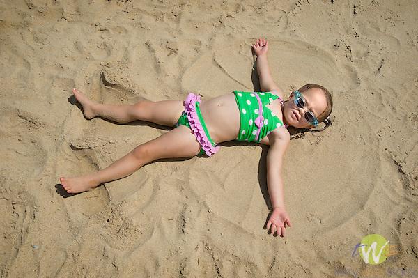 Reese making sand angel