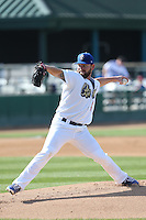 Rudy Owens (40) of the Rancho Cucamonga Quakes pitches during a game against the Bakersfield Blaze at LoanMart Field on June 1, 2015 in Rancho Cucamonga, California. Rancho Cucamonga defeated Bakersfield, 5-2. (Larry Goren/Four Seam Images)