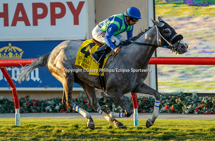 DEL MAR, CA  SEPTEMBER 4: #4 None Above the Law, ridden by Joe Bravo, in the stretch of the Del Mar Derby (Grade ll) on September 4, 2021, with Del Mar Thoroughbred Club in Del Mar, CA.  (Photo by Casey Phillips/Eclipse Sportswire/CSM)