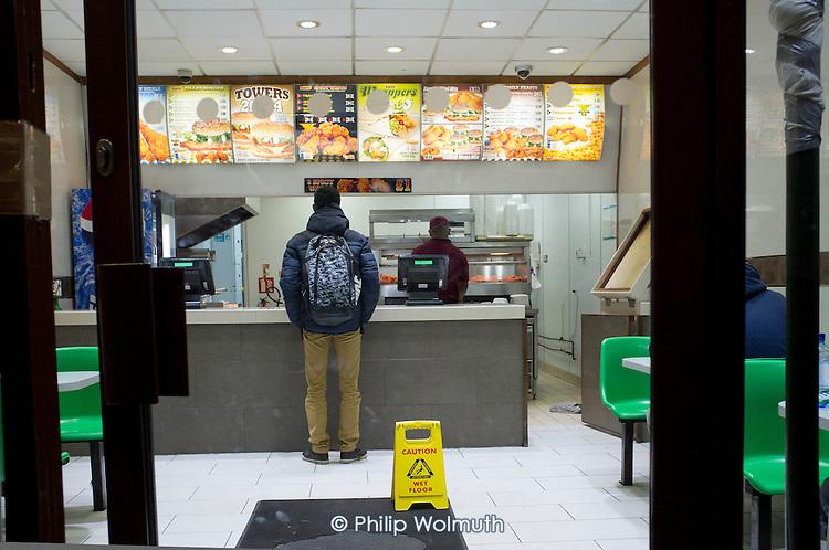 Fast food takeaway, Cricklewood, London.