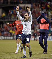 Landon Donovan signals 2-0 to USA fans after the match, Wed, Feb. 11, USA 2-0 over Mexico in a qualifying match for the 2010 World Cup, in Columbus, Ohio.
