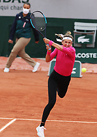 30th September 2020, Roland Garros, Paris, France; French Open tennis, Roland Garr2020; Victoria Azarenka of Belarus hits a return during for womens singles second round match against Anna Karolina Schmiedlova of Slovakia at French Open