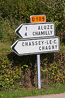 road sign aluze mercurey burgundy france