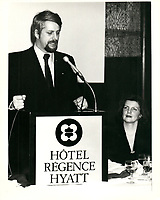 Pierre-Marc Johnson<br /> le 23 jan 1980 a l'hotel Regence Hyatt<br /> <br /> PHOTO :   Agence Quebec Presse