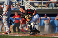 Batavia Muckdogs catcher Blake Anderson (26) makes a play on the ball during a game against the Auburn Doubledays July 10, 2015 at Dwyer Stadium in Batavia, New York.  Auburn defeated Batavia 13-1.  (Mike Janes/Four Seam Images)
