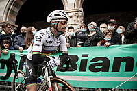 World Champion Julian Alaphilippe (FRA/Deceuninck - Quick Step) at the race start in Como<br /> <br /> 115th Il Lombardia 2021 (1.UWT)<br /> One day race from Como to Bergamo (ITA/239km)<br /> <br /> ©kramon