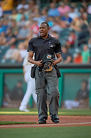 Umpire Ramon De Jesus handles the calls behind the plate during the game between the Salt Lake Bees and the Sacramento River Cats at Smith's Ballpark on July 18, 2019 in Salt Lake City, Utah. The Bees defeated the River Cats 9-6. (Stephen Smith/Four Seam Images)