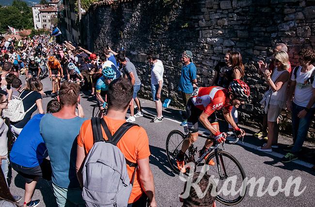 Maxime Monfort (BEL/Lotto-Soudal) cheered on towards the Città Alta in bergamo<br /> <br /> Stage 15: Valdengo › Bergamo (199km)<br /> 100th Giro d'Italia 2017