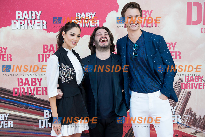 Mexican actress Eiza González, director of the film, Edgar Wright and american actor Ansel Elgort attends to the presentation of the film 'Baby Driver' at Villa Magna Hotel in Madrid, June 23, 2017. Spain.<br /> (ALTERPHOTOS/BorjaB.Hojas/Insidefoto)<br /> Foto ALTERPHOTOS/BorjaB.Hojas/Insidefoto