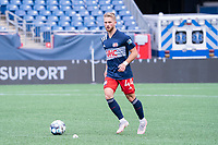 FOXBOROUGH, MA - JULY 4: Pierre Cacet #44 of the New England Revolution II during a game between Greenville Triumph SC and New England Revolution II at Gillette Stadium on July 4, 2021 in Foxborough, Massachusetts.