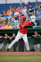 Batavia Muckdogs designated hitter Michael Donadio (7) at bat during a game against the West Virginia Black Bears on June 19, 2018 at Dwyer Stadium in Batavia, New York.  West Virginia defeated Batavia 7-6.  (Mike Janes/Four Seam Images)