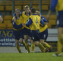 20/12/03          Copyright Pic : James Stewart.File Name : stewart04-stjohn_v_qos.SEAN O'CONNOR (2ND LEFT) IS CONGRATULATED AFTER SCORING QOS'S GOAL..... .Payment should be made to :-.James Stewart Photo Agency, 19 Carronlea Drive, Falkirk. FK2 8DN      Vat Reg No. 607 6932 25.Office     : +44 (0)1324 570906     .Mobile  : +44 (0)7721 416997.Fax         :  +44 (0)1324 570906.E-mail  :  jim@jspa.co.uk.If you require further information then contact Jim Stewart on any of the numbers above.........