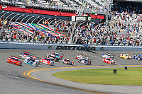 Green flag to start the Rolex 24 at Daytona, Daytona International Speedway, Daytona Beach, FL, January 2014.  (Photo by Brian Cleary/www.bcpix.com)
