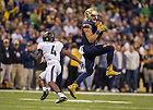 Sept 13, 2014; Tight end Ben Koyack makes a catch during the Shamrock Series football game against Purdue in Indianapolis. (Photo by Barbara Johnston/University of Notre Dame)