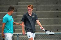Alexander Klintcharov (left) and Macsen Paul Sisam. 2019 Wellington Tennis Open at Renouf Centre in Wellington, New Zealand on Thursday, 19 December 2019. Photo: Dave Lintott / lintottphoto.co.nz