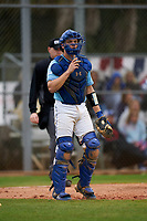 Indiana State Sycamores catcher Grant Magill (5) during a game against the Dartmouth Big Green on February 21, 2020 at North Charlotte Regional Park in Port Charlotte, Florida.  Indiana State defeated Dartmouth 1-0.  (Mike Janes/Four Seam Images)