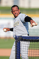 Bowling Green Hot Rods coach Manny Castillo during a game vs. the Lake County Captains at Classic Park in Eastlake, Ohio;  August 20, 2010.   Lake County defeated Bowling Green 5-3.  Photo By Mike Janes/Four Seam Images