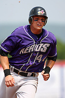 July 7th 2008:  Ryan Goleski of the Akron Aeros, Class-AA affiliate of the Cleveland Indians, during a game at NYSEG Stadium in Binghamton, NY.  Photo by:  Mike Janes/Four Seam Images