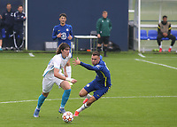 Artem Kasimov of Zenit St Petersburg takes the ball past Chelsea's Harvey Vale during Chelsea Under-19 vs FC Zenit Under-19, UEFA Youth League Football at Cobham Training Ground on 14th September 2021