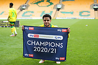 1st May 2021; Carrow Road, Norwich, Norfolk, England, English Football League Championship Football, Norwich versus Reading; Andrew Omobamidele of Norwich City celebrates winning the EFL championship