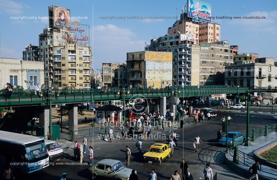 EGYPT Cairo, tram and traffic at Ramses street in front of Ramses railway station / Aegypten Kairo, Strassenbahn und Verkehr auf der Ramses Strasse vor dem Ramses Bahnhof