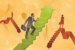 Business men and woman moving on steps with currency symbols depicting business progress