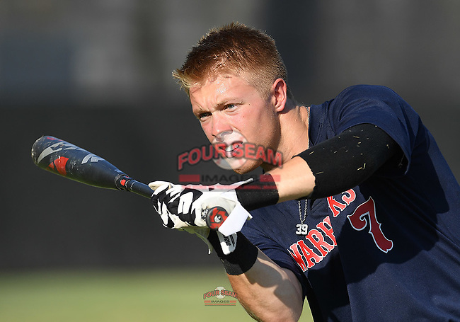 Greenville High grad Clay Wilson (7) of the Greer Warhawks, now on The Citadel roster, warms up with a pepper game before a South Carolina American League game against Easley on Tuesday, July 14, 2020, at Stevens Field in Greer, South Carolina. Greer won, 18-1. (Tom Priddy/Four Seam Images)