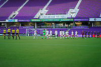 ORLANDO, FL - APRIL 21: The referees lead the Starting XI from Washington Spirit and Orlando Pride onto the field prior to a game between Washington Spirit and Orlando Pride at Exploria Stadium on April 21, 2021 in Orlando, Florida.
