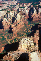 The deeply-cut valleys of Zion National Park, Utah