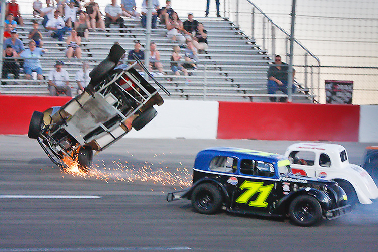 June 5, 2010. Las Vegas, NV: Spencer Gallagher flies his legend car through the air at the Bullring.