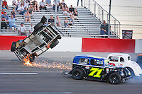 June 5, 2010. Las Vegas, NV: Spencer Gallagher flies his legend car through the air at the Bullring.