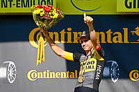 17th July 2021, St Emilian, Bordeaux, France;  VAN AERT Wout (BEL) of JUMBO - VISMA on the podium after stage 20 of the 108th edition of the 2021 Tour de France cycling race, an individual time trial stage of 30,8 kms between Libourne and Saint-Emilion.