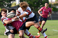 Trey Alatini of Kings College is tackled during the College 1st XV Rugby - Scots College v Kings College at Scots College, Wellington, New Zealand on Saturday 8 May 2021.<br /> Copyright photo: Masanori Udagawa /  www.photosport.nz