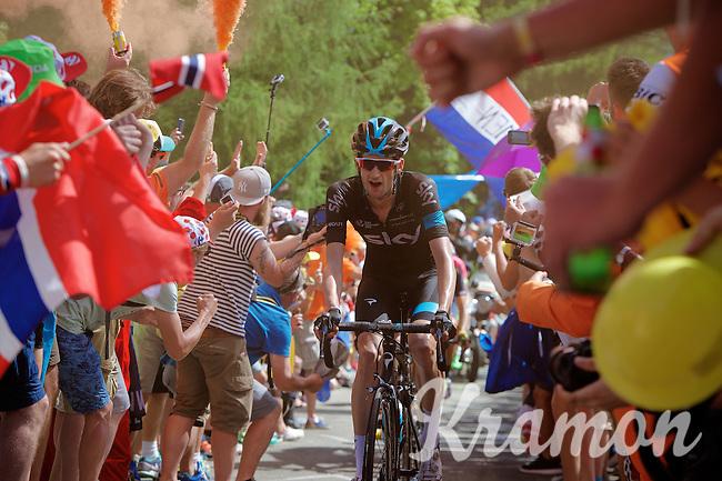 Dutchie Wout Poels (NLD/SKY) experiencing the craziness at the Dutch Corner (nr7) up Alpe d'Huez<br /> <br /> stage 20: Modane Valfréjus - Alpe d'Huez (111km)<br /> 2015 Tour de France