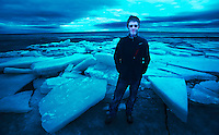 Pat on broken ice at Lake Oneida, New York.
