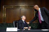 United States Secretary of State Antony Blinken is greeted by US Senator Cory Booker (Democrat of New Jersey) as he arrives during a Senate Foreign Relations Committee hearing on Capitol Hill, September 14, 2021 in Washington, DC. Blinken was questioned about the Biden administration's handling of the U.S. withdraw from Afghanistan. <br /> Credit: Drew Angerer / Pool via CNP /MediaPunch
