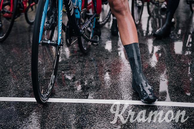 wet start line<br /> <br /> 76th Paris-Nice 2018<br /> Stage 7: Nice > Valdeblore La Colmiane (175km)