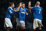 Lewis Macleod celebrates after scoring the second goal for Rangers