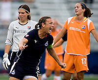 Washington Freedom captain (20) Abby Wambach celebrates her first goal of the game at the Maryland SoccerPlex in Boyds, Maryland.  The Washington Freedom defeated Sky Blue FC, 3-1, to secure a place in the playoffs.