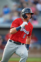 Fort Myers Miracle Trevor Larnach (9) runs to first base during a Florida State League game against the Charlotte Stone Crabs on April 6, 2019 at Charlotte Sports Park in Port Charlotte, Florida.  Fort Myers defeated Charlotte 7-4.  (Mike Janes/Four Seam Images)