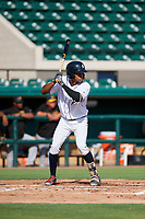 Detroit Tigers Jose Azocar (31) at bat during a Florida Instructional League game against the Pittsburgh Pirates on October 6, 2018 at Joker Marchant Stadium in Lakeland, Florida.  (Mike Janes/Four Seam Images)