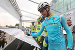 Fabio Aru (ITA) Astana at sign on for the start of the 2015 96th Milan-Turin 186km race starting at San Giuliano Milanese, Italy. 1st October 2015.<br /> Picture: Claudio Peri/ANSA | Newsfile