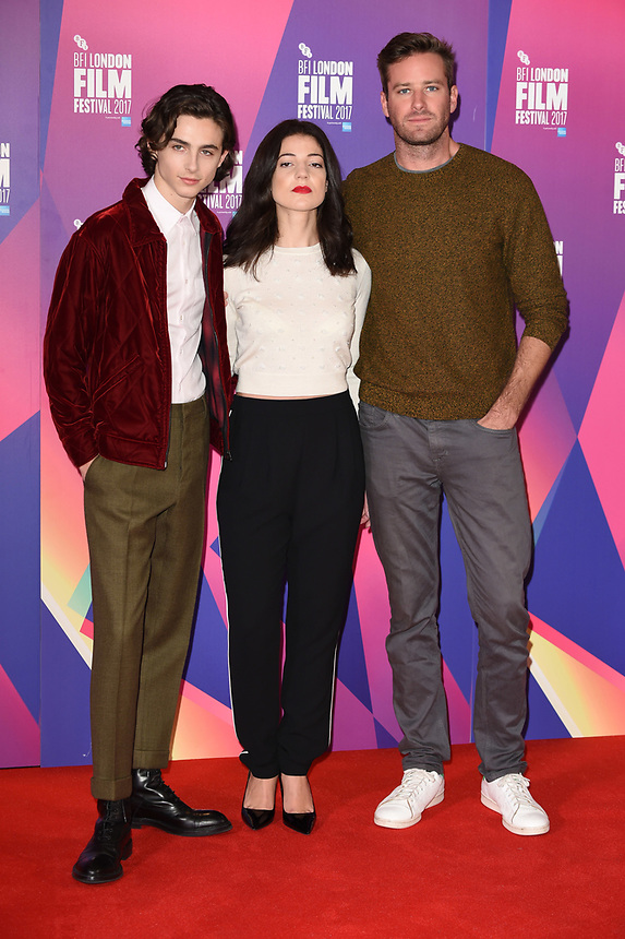 "Timothee Chalamet, Esther, Garrel and Armie Hammer<br /> at the London Film Festival 2017 photocall for the film ""Call Me by Your Name"" at the Mayfair Hotel, London<br /> <br /> <br /> ©Ash Knotek  D3326  09/10/2017"