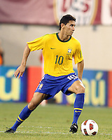 Paulo Henrique Ganso #10 of Brazil during an international friendly match against the USA in Giants Stadium, on August 10 2010, in East Rutherford, New Jersey.Brazil won 2-0.