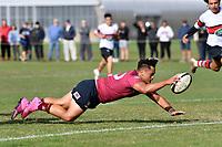 Budda Doyle of Kings College scores a try during the College 1st XV Rugby - Scots College v Kings College at Scots College, Wellington, New Zealand on Saturday 8 May 2021.<br /> Copyright photo: Masanori Udagawa /  www.photosport.nz