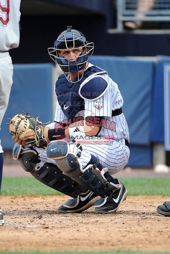 Staten Island Yankees catcher Wes Wilson (24) during game against the Hudson Valley Renegades at Richmond County Bank Ballpark at St.George on June 24, 2012 in Staten Island, NY.  Staten Island defeated Hudson Valley 9-1.  Tomasso DeRosa/Four Seam Images