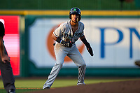 Dayton Dragons Allan Cerda (24) leads off second base during a game against the Fort Wayne TinCaps on August 25, 2021 at Parkview Field in Fort Wayne, Indiana.  (Mike Janes/Four Seam Images)